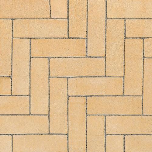 Ручной формовки брусчатка Vandersanden опесоченная Elzas (желтая, рельефная, опесоченная)